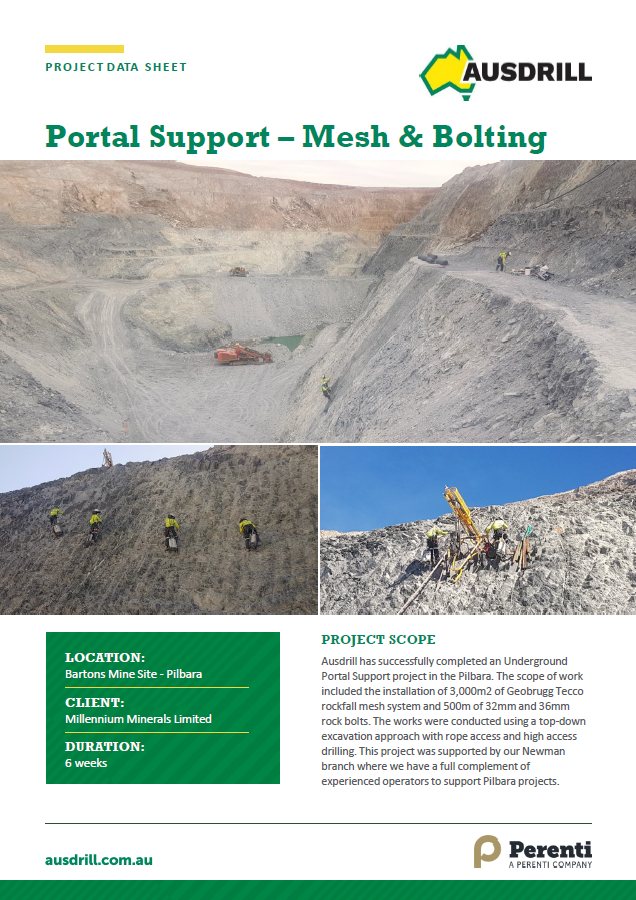 Bartons Portal Support Mesh and Bolting – 2018