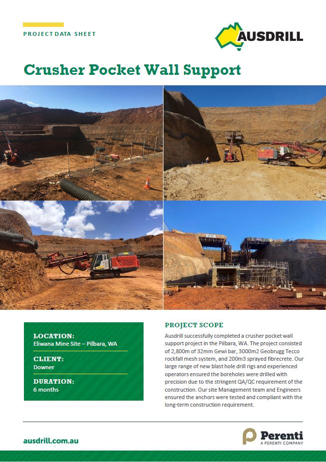 Eliwana Crusher Pocket Wall Support – 2019
