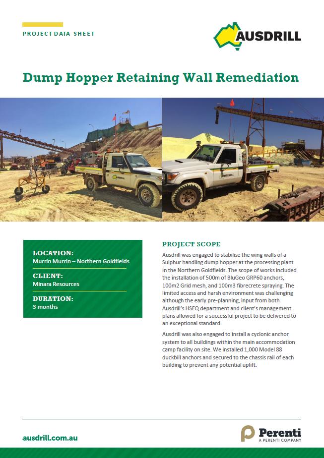 Murrin Murrin Dump Hopper Retaining Wall Remediation – 2017